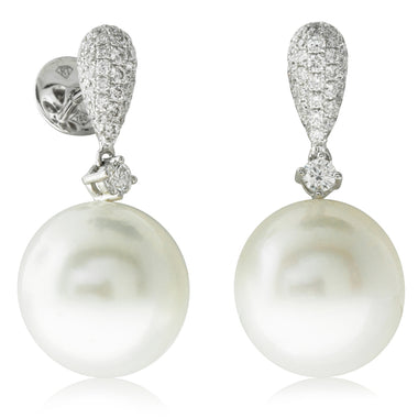 075bd2c9c 18ct White Gold 12.4mm South Sea & Diamond Pearl Earrings