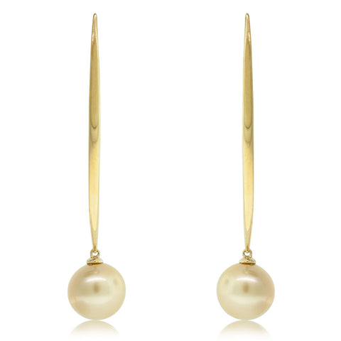 18ct Yellow Gold 11.0mm Golden Pearl Earrings - Walker & Hall