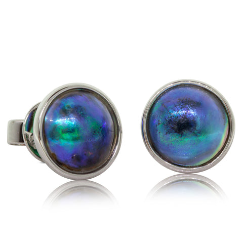 14ct White Gold Paua Pearl Studs - Walker & Hall
