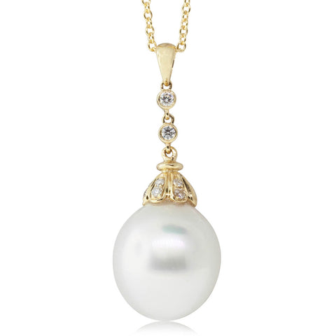 18ct Yellow Gold 13.1mm South Sea Pearl & Diamond Pendant - Walker & Hall