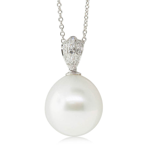 18ct White Gold 14.5mm South Sea Pearl & Diamond Pendant - Walker & Hall