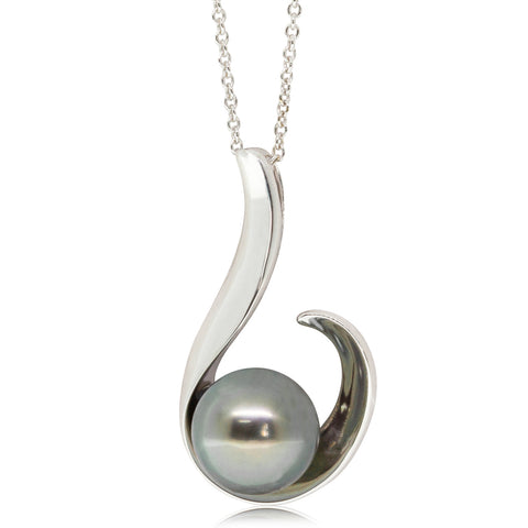 14ct White Gold 10.4mm Black Pearl Hook Pendant - Walker & Hall