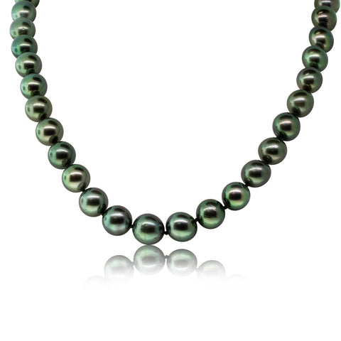 18ct White Gold Black Pearl Strand - Walker & Hall