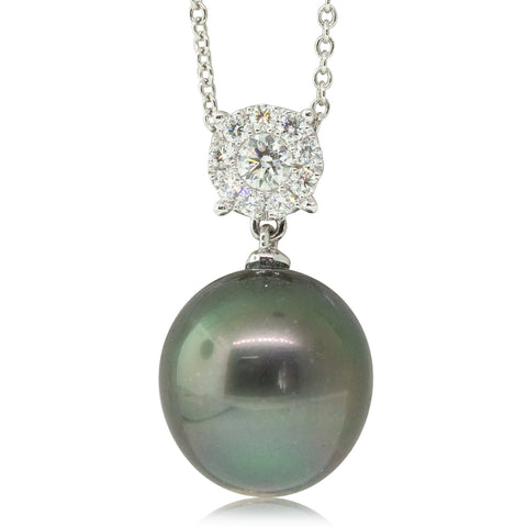 18ct White Gold 12.7mm Black Pearl & Diamond Necklace - Walker & Hall