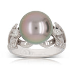 Deja Vu Platinum Tahitian Black Pearl and Diamond Ring - Walker & Hall