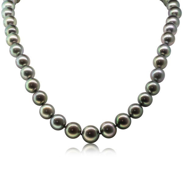 18ct White Gold Black Pearl Strand Necklace - Walker & Hall