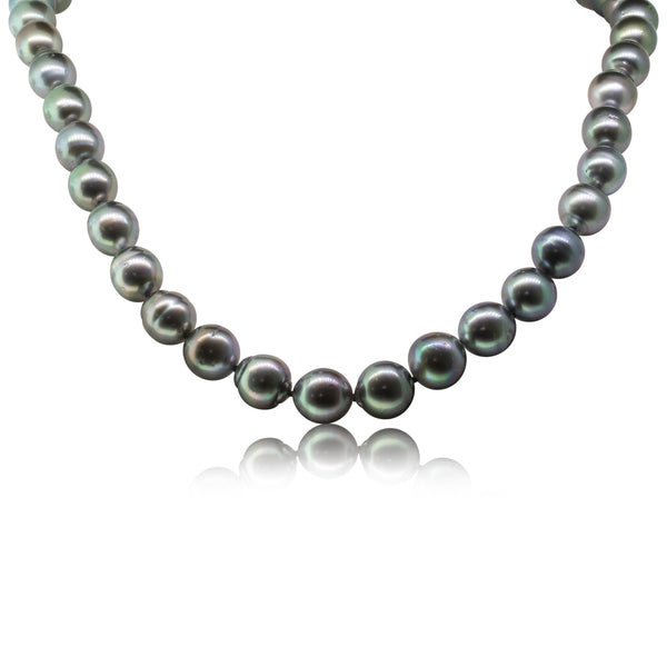 9ct White Gold Black Pearl Strand Necklace - Walker & Hall
