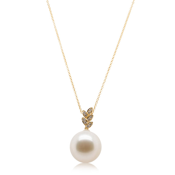 18ct Yellow Gold 15.9mm South Sea Pearl & Diamond Pendant - Walker & Hall