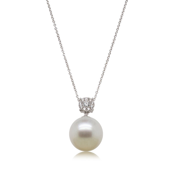 18ct White Gold 14.7mm South Sea Pearl & Diamond Galaxy Pendant - Walker & Hall