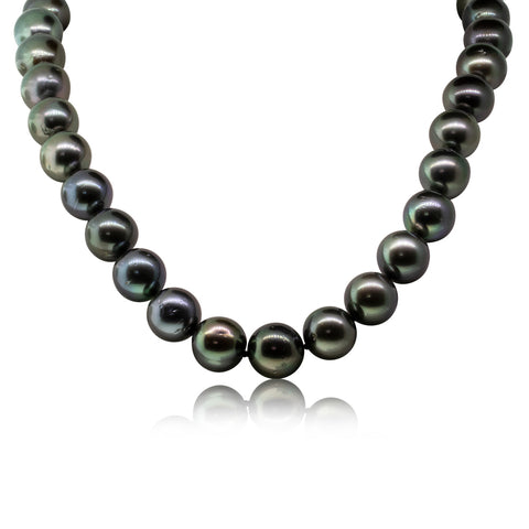 18ct White Gold 12-13mm Black Pearl Strand Necklace - Walker & Hall