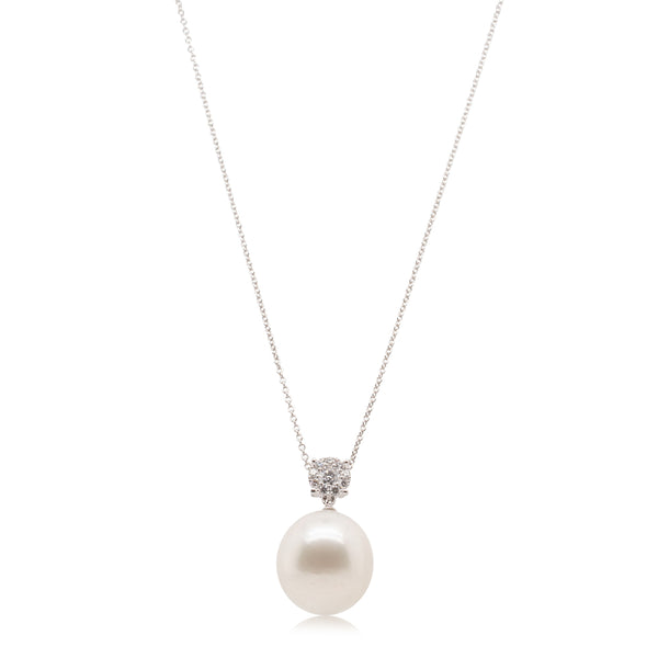 18ct White Gold 15.5mm South Sea Pearl & Diamond Galaxy Pendant - Walker & Hall