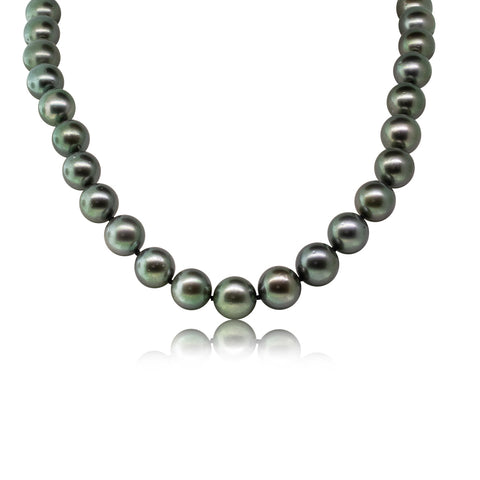 9ct White Gold 11-13mm Black Pearl Strand Necklace - Walker & Hall