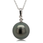 18ct White Gold 12.8mm Black Pearl & Diamond Pendant - Walker & Hall