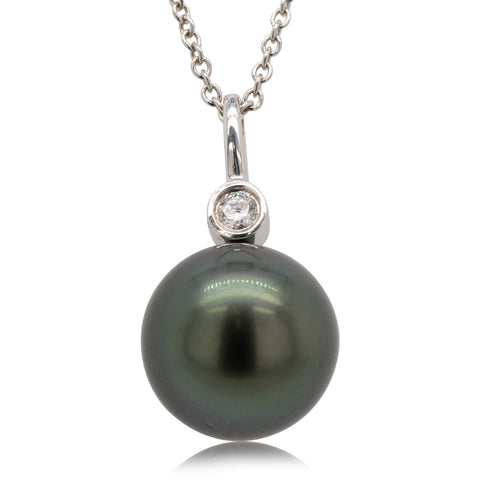 18ct White Gold 11.5mm Black Pearl & Diamond Pendant - Walker & Hall