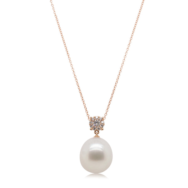 18ct Rose Gold 15.2mm South Sea Pearl & Diamond Galaxy Pendant - Walker & Hall