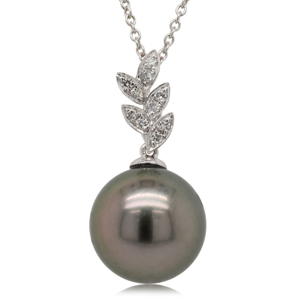 18ct White Gold 12.7mm Black Pearl & Diamond Pendant - Walker & Hall