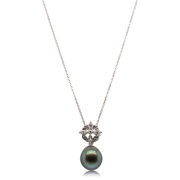 Deja Vu 18ct White Gold 11.2mm Black Pearl & Diamond Pendant - Walker & Hall