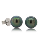 Deja Vu 18ct White Gold 8.8mm Black Pearl Earrings - Walker & Hall