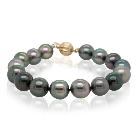 9ct Yellow Gold Tahitian Black Pearl Bracelet - Walker & Hall