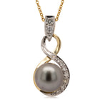 Deja Vu 18ct Yellow & White Gold 9.2mm Black Pearl & Diamond Pendant - Walker & Hall