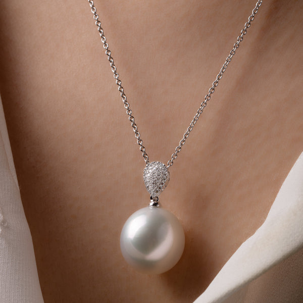 18ct White Gold 13mm South Sea Pearl & Diamond Aegean Pendant - Walker & Hall