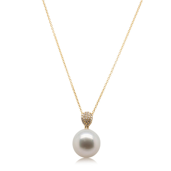 18ct Yellow Gold 13.2mm South Sea Pearl & Diamond Aegean Pendant - Walker & Hall