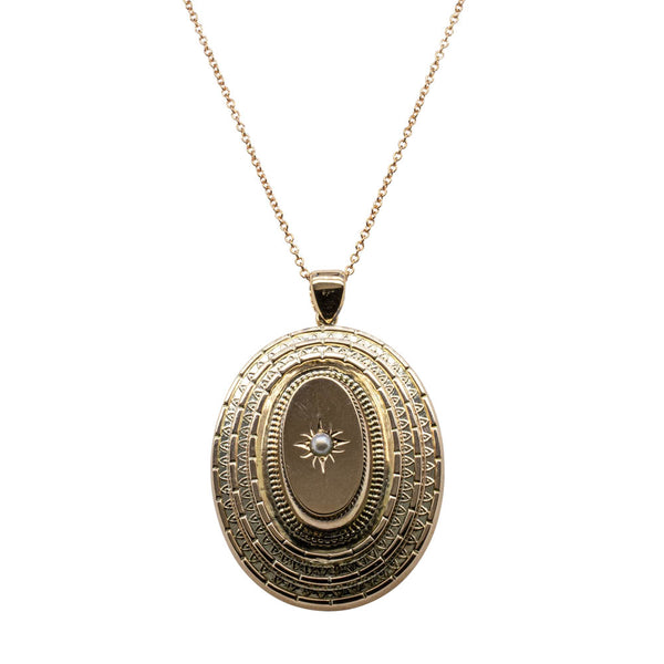 Vintage 10ct Rose Gold Seed Pearl Locket - Walker & Hall