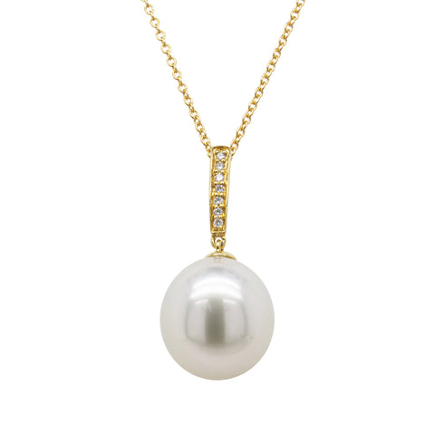 18ct Yellow Gold 13mm South Sea Pearl & Diamond Pendant - Walker & Hall