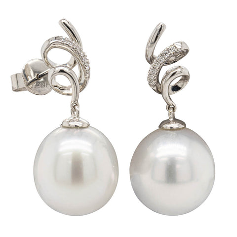 18ct White Gold 12.5mm South Sea Pearl & Diamond Earrings - Walker & Hall