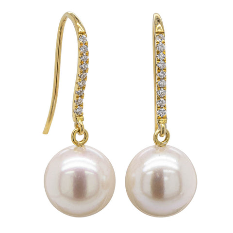 18ct Yellow Gold Akoya Pearl & Diamond Drop Earrings - Walker & Hall