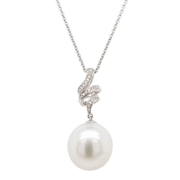 18ct White Gold 13.3mm South Sea Pearl & Diamond Pendant - Walker & Hall