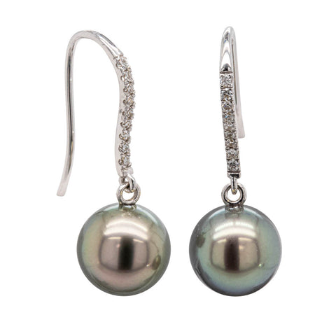 18ct White Gold Tahitian Black Pearl & Diamond Earrings - Walker & Hall