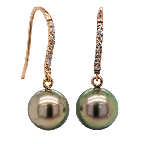 18ct Rose Gold Tahitian Black Pearl & Diamond Drop Earrings - Walker & Hall