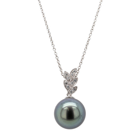 18ct White Gold 12.3mm Black Pearl & Diamond Pendant - Walker & Hall