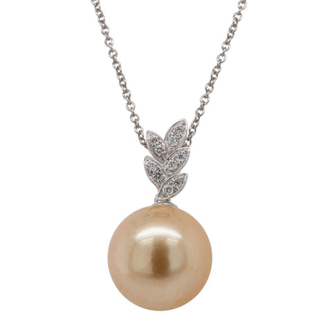 18ct White Gold 13.2mm Golden South Sea Pearl & Diamond Pendant - Walker & Hall