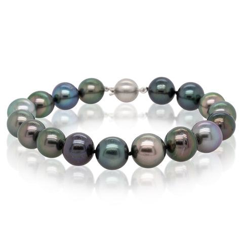 9ct White Gold Tahitian Black Pearl Bracelet - Walker & Hall