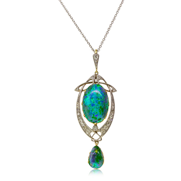 Vintage 15ct Yellow Gold & Platinum 7.80ct Opal & Diamond Liberty of London Pendant - Walker & Hall