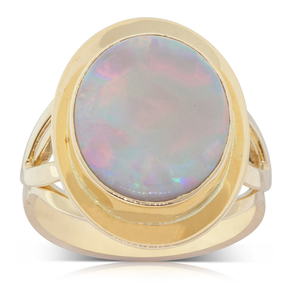Vintage 18ct Yellow Gold Opal 1970s Ring - Walker & Hall