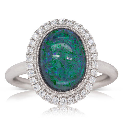 18ct White Gold 2.51ct Opal & Diamond Halo Ring - Walker & Hall