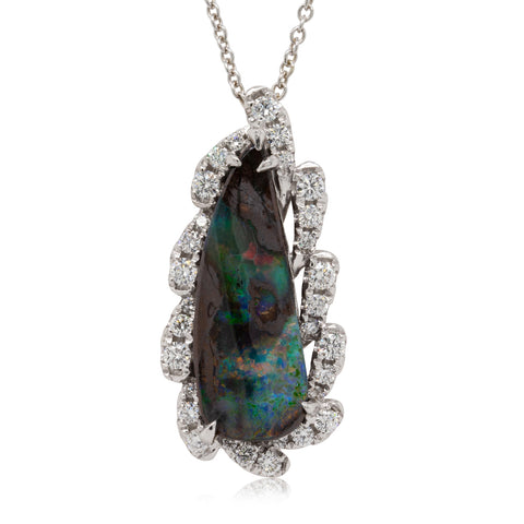 18ct White Gold 6.69ct Opal & Diamond Pendant - Walker & Hall