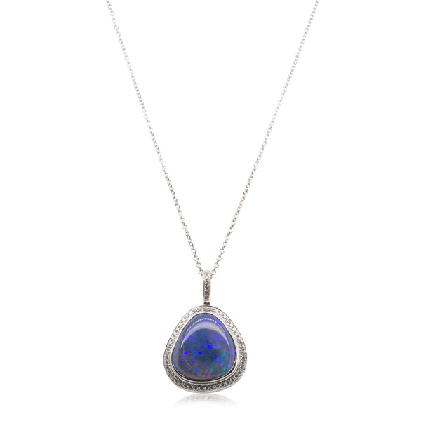 18ct White Gold 5.88ct Black Opal & Diamond Pendant - Walker & Hall