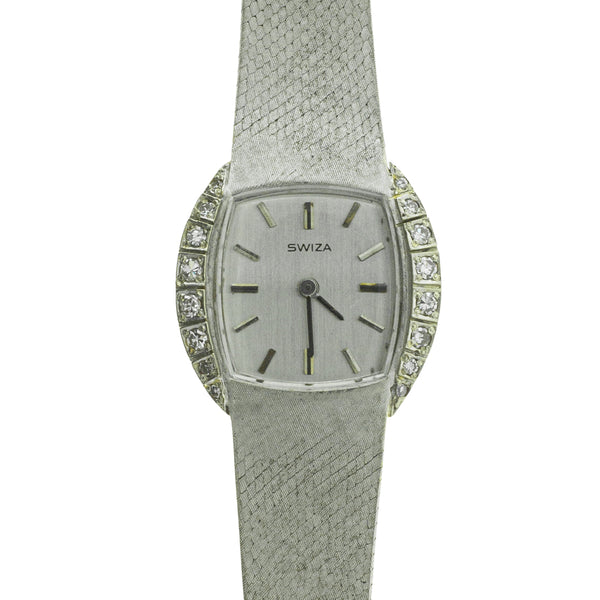 Vintage 14ct White Gold .20ct Diamond Swiza Watch - Walker & Hall