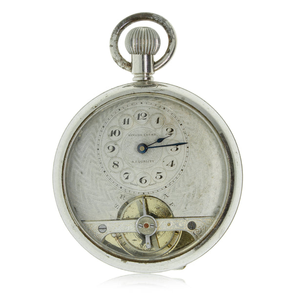 Vintage Plated Base Metal Open Face Pocket Watch - Walker & Hall