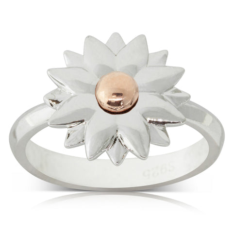 Sterling Silver & Rose Gold Plated Dahlia Ring - Walker & Hall