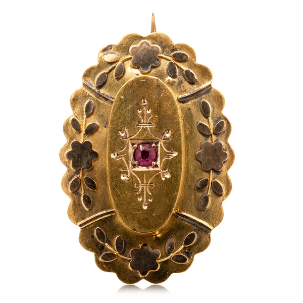 Vintage 18ct Yellow Gold Ruby Brooch - Walker & Hall
