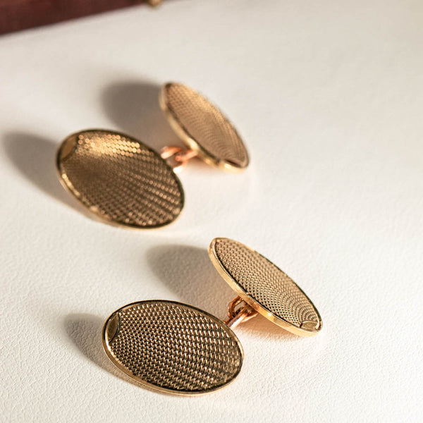 Vintage 9ct Yellow Gold Oval Cufflinks - Walker & Hall