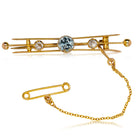 Vintage 9ct Yellow Gold Aquamarine & Diamond Brooch - Walker & Hall