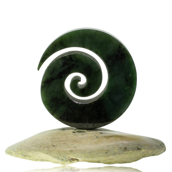 Base Carving NZ Greenstone Stand Koru - Walker & Hall