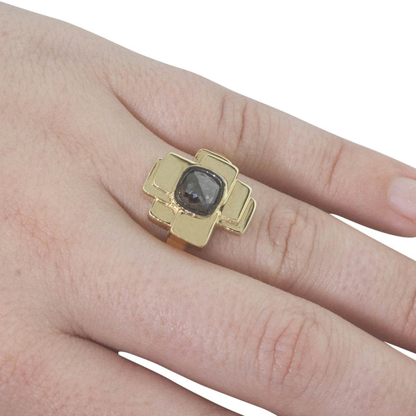 Kelly Thompson x Walker & Hall  #20 18ct Yellow Gold Black Diamond Ring - Walker & Hall
