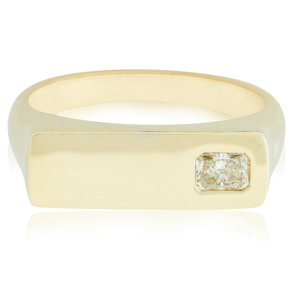 14ct Yellow Gold .31ct Diamond Mens Signet Ring - Walker & Hall